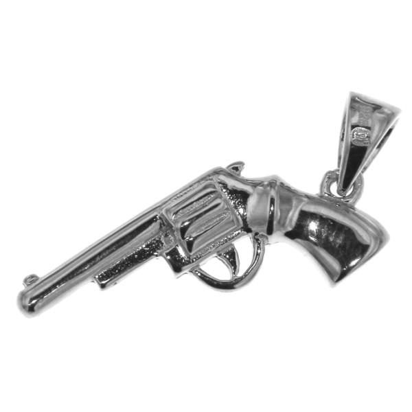 Anhänger Revolver Pistole Waffe massiv echt Silber