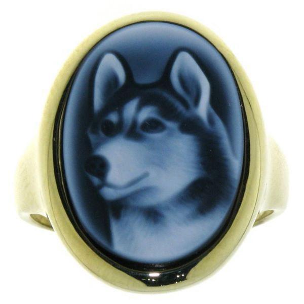 Ring Gemme Achat Husky Hunderasse Wolf 18 x 13 mm Kamee