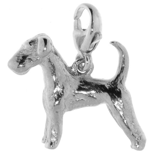 Charm Airedale Terrier mit unkupierter Rute Hunderasse massiv echt Silber
