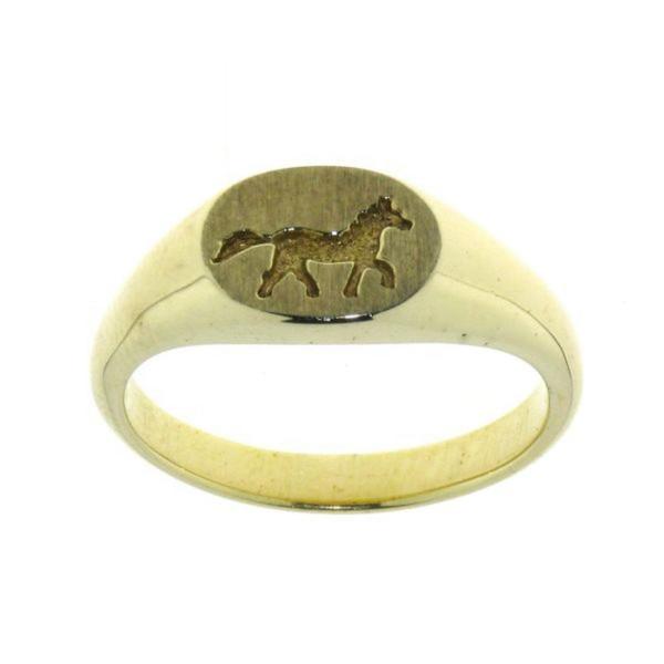 """""""Siegel"""" Ring mit laufendem Pferd massiv Geldgold"""