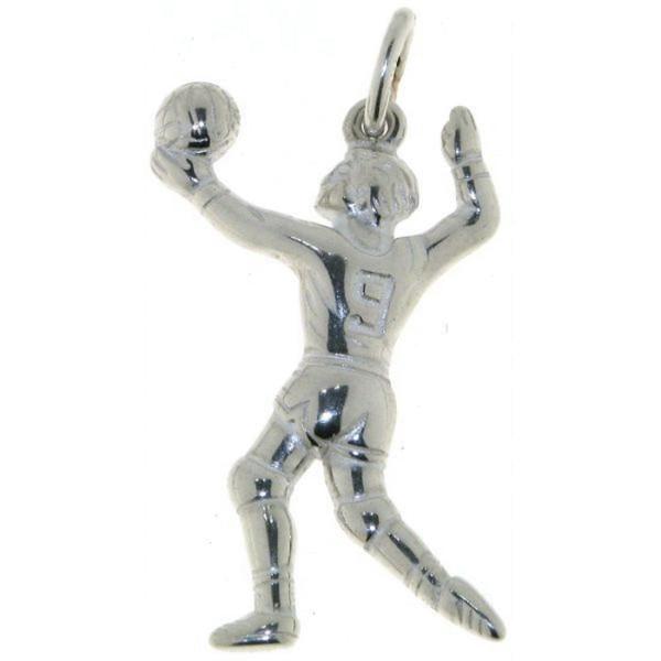 Anhänger Volleyballspieler massiv echt Silber