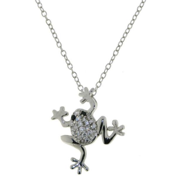 Anhänger Frosch echt Silber mit Zirkonia-Pavee und Kette