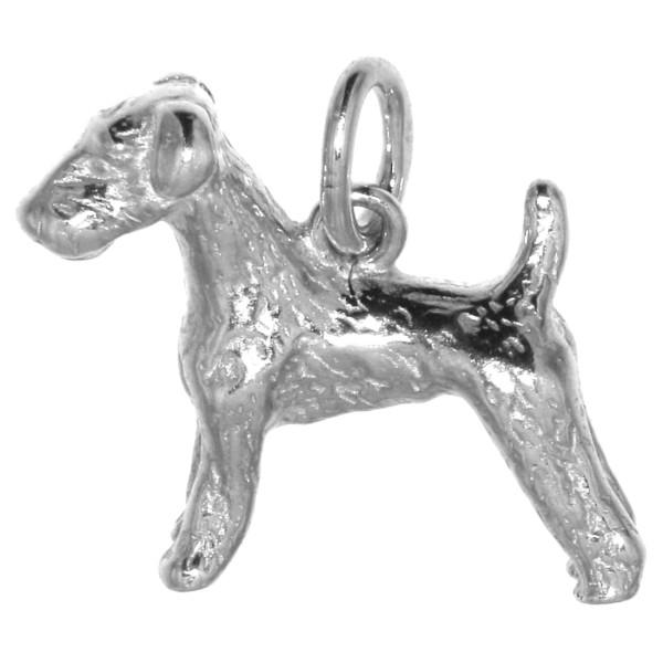 Anhänger Airedale-Terrier Hunderasse massiv echt Silber
