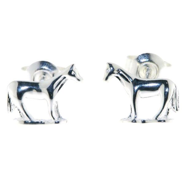Ohrstecker Pferde stehend auf einer Weide massiv echt Silber