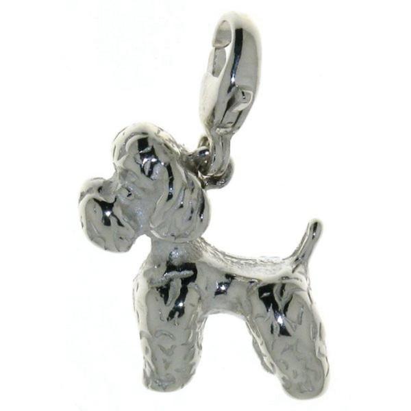 Charm Pudel Pudelchen Hunderasse massiv echt Silber