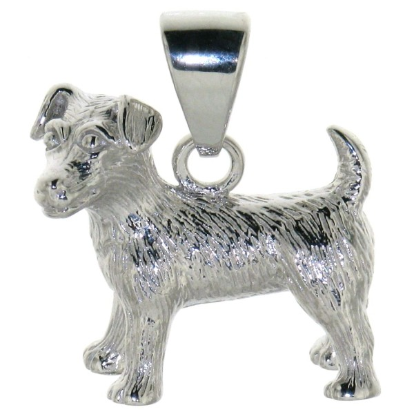 Anhänger Jack-Russel-Terrier Hund schwer massiv echt Silber größer