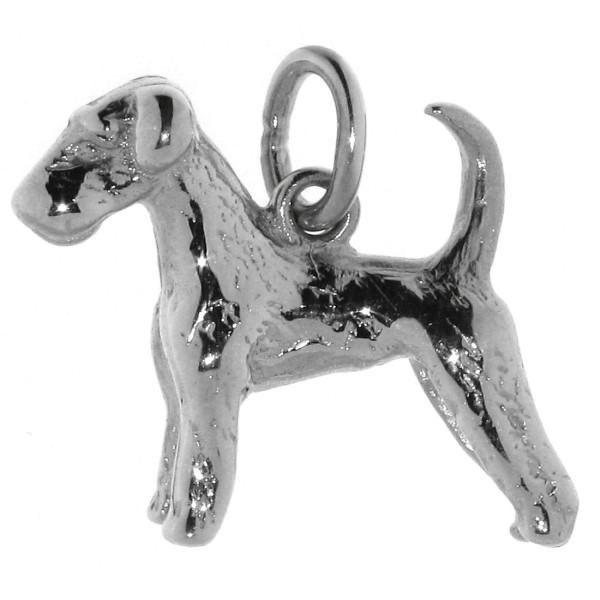 Anhänger Airedale Terrier mit unkupierter Rute Hunderasse massiv echt Silber