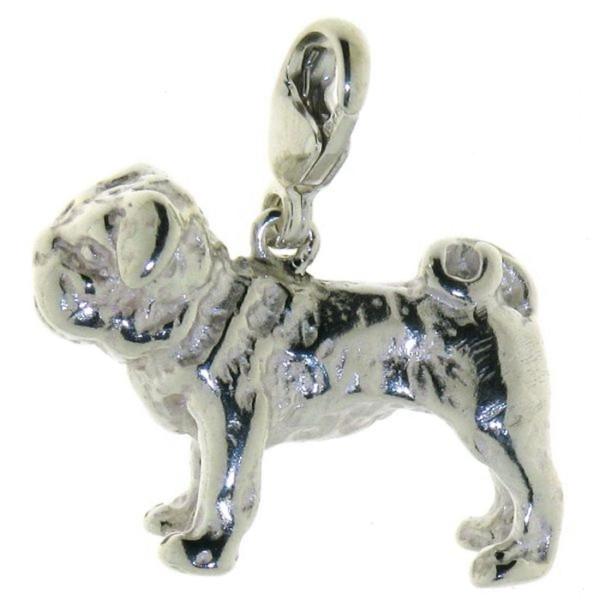 Charm Mops Hunderasse massiv echt Silber