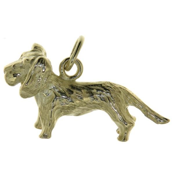 Anhänger Rauhhaar-Dackel Hunderasse Teckel massiv echt Gold