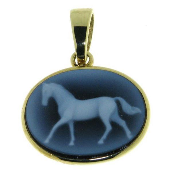 Anhänger Gemme Achat laufendes Pferd 16 x 12 mm Kamee