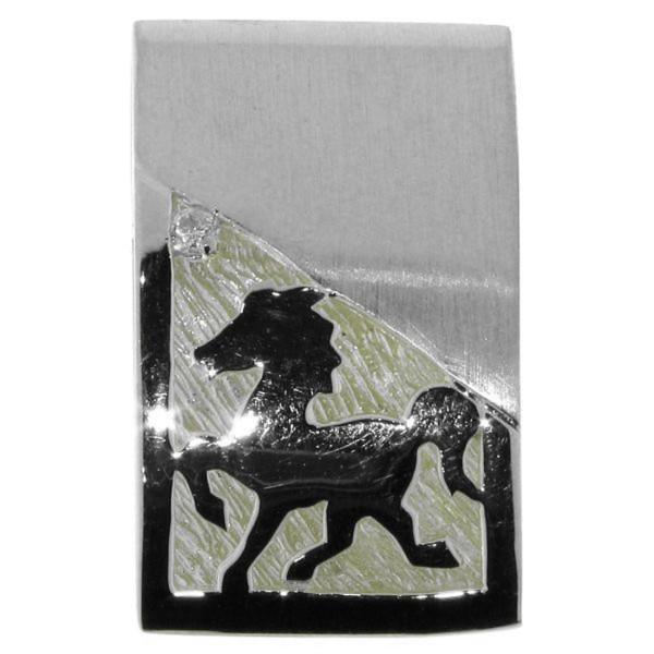 Anhänger Island-Pferd Isländer Isy beim Tölt massiv echt Silber mattiert-poliert mit Zirkonia