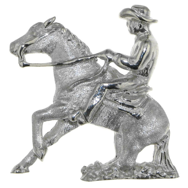 Anhänger Reiter auf Pferd beim Sliding Stop - Reining - groß echt Silber mattiert - poliert