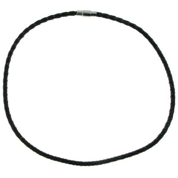 Collier aus echtem Leder geflochten schwarz 4 mm