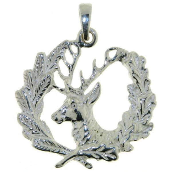 Anhänger Jagdsymbol mit Hirsch massiv echt Silber