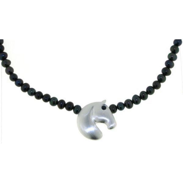 Perlcollier schwarze Perlen mit modernem Pferdekopf echt Silber mit Saphirauge