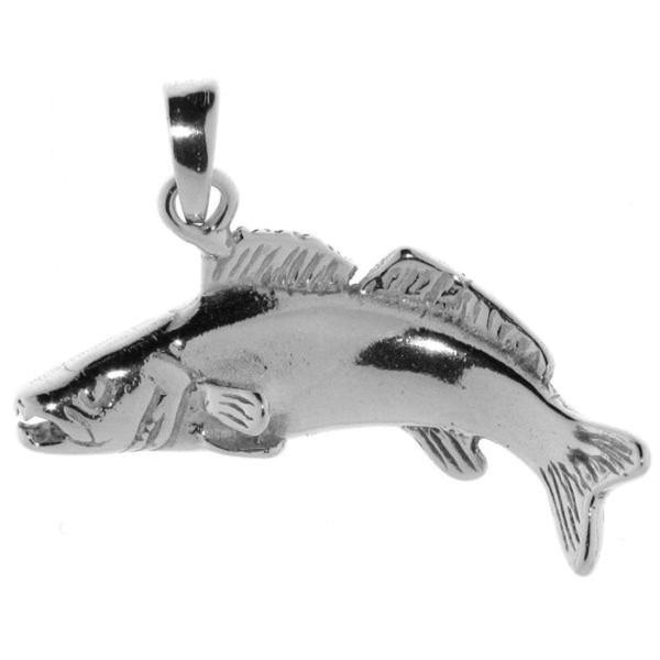 Anhänger Zander-Fisch massiv echt Silber