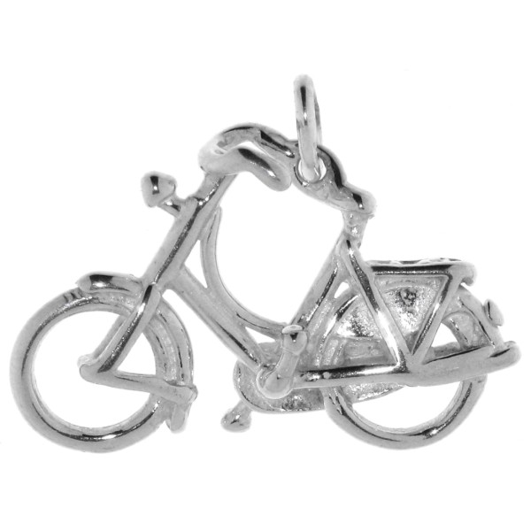 Anhänger Fahrrad Hollandrad Sportgerät Radsport massiv echt Silber