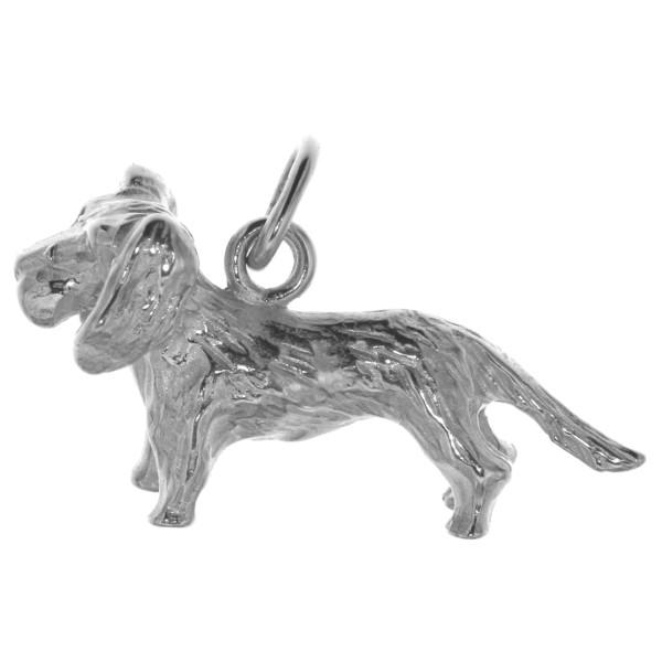 Anhänger Rauhhaardackel Hunderasse Teckel massiv echt Silber