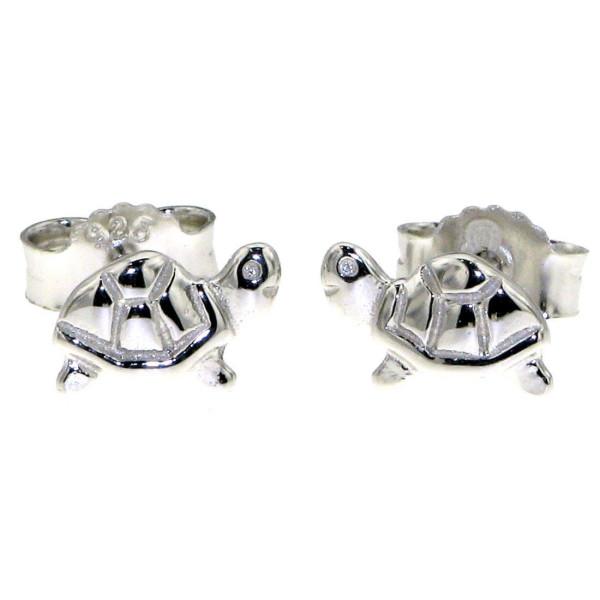 Ohrstecker Ohrring Schildkröte massiv echt Silber
