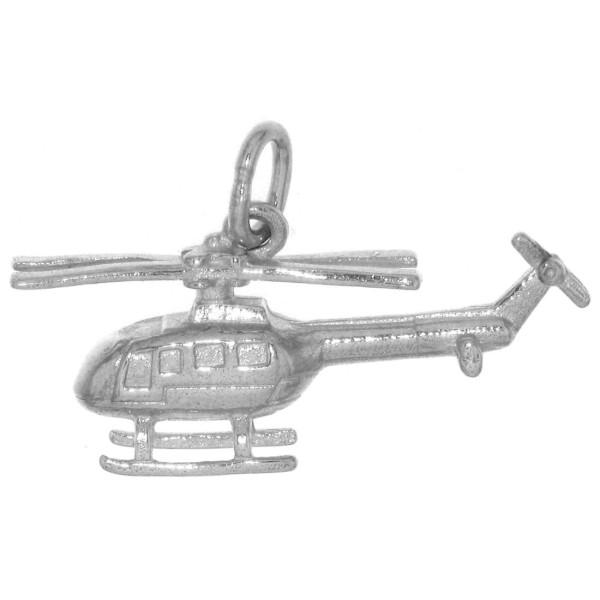Anhänger Hubschrauber Helikopter Flugzeug massiv echt Silber