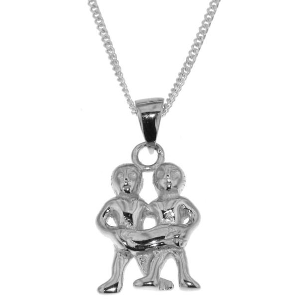 Anhänger Zwilling mit Kette Sternzeichen Tierkreiszeichen echt Silber