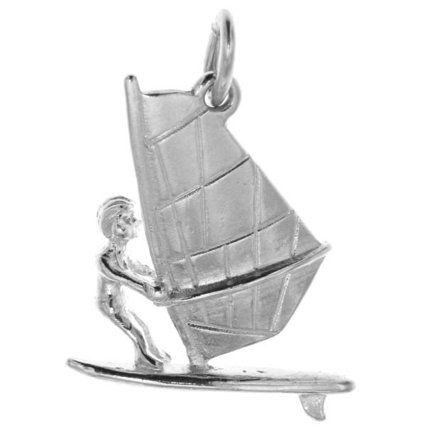 Anhänger Windsurfen Surfer Wassersport massiv echt Silber