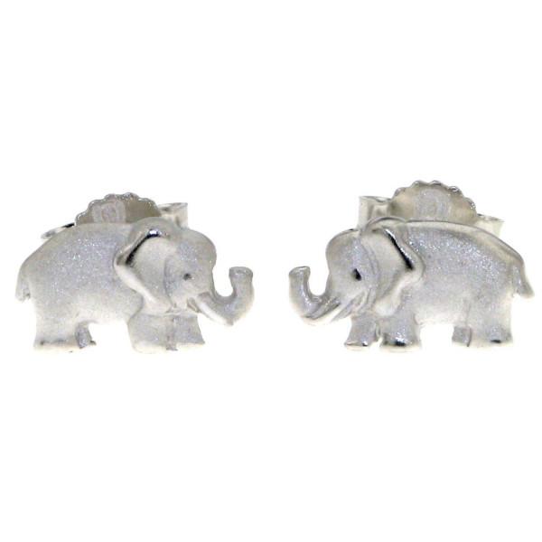 Ohrstecker Ohrring Elefant Elefanten echt Silber mattiert-poliert