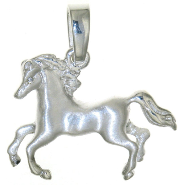 Anhänger Pferd massiv echt Silber mattiert - poliert mit 2 Zirkonia Augen