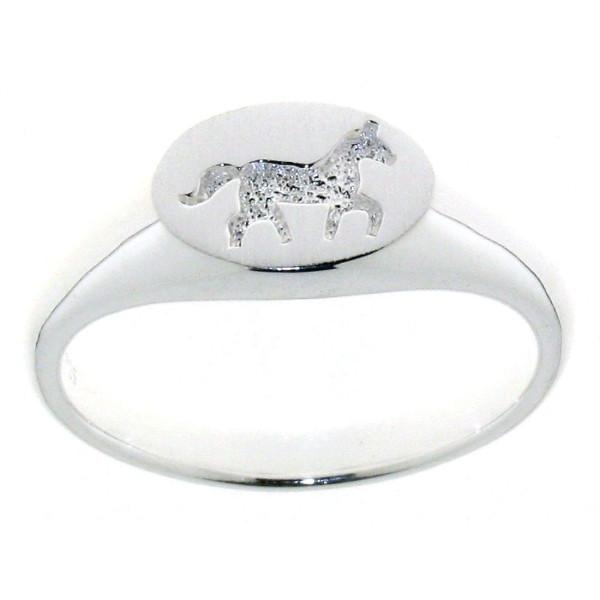 Ring mit laufendem Pferd im Stil eines Siegelringes massiv echt Silber mattiert-poliert