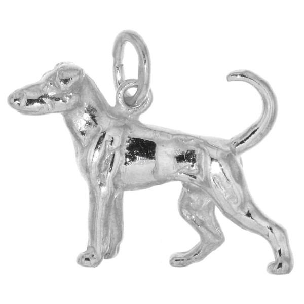 Anhänger Dobermann Hunderasse unkupiert massiv echt Silber