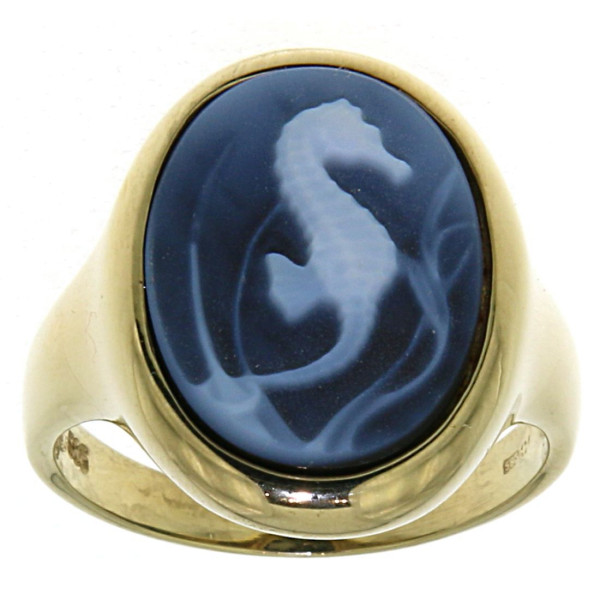 Ring Gemme Achat Seepferd 16 x 12 mm Kamee