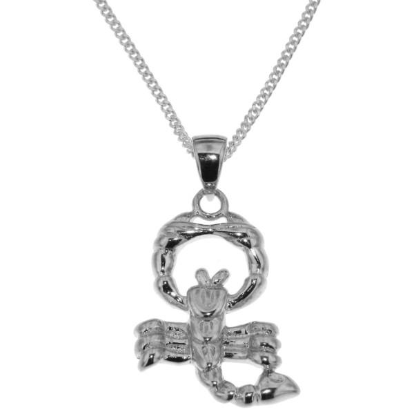 Anhänger Skorpion mit Kette Sternzeichen Tierkreiszeichen echt Silber