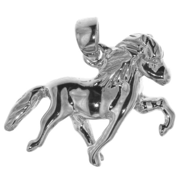 Anhänger Island-Pferd Isländer beim Tölt Isy klein massiv echt Silber