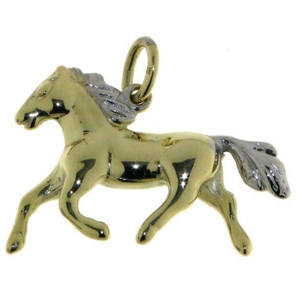 Anhänger Pferd Gelbgold mit rhodinierter Mähne und Schweif