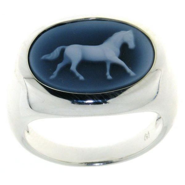Ring Gemme Achat mit laufendem Pferd 16 x 12 mm Kamee