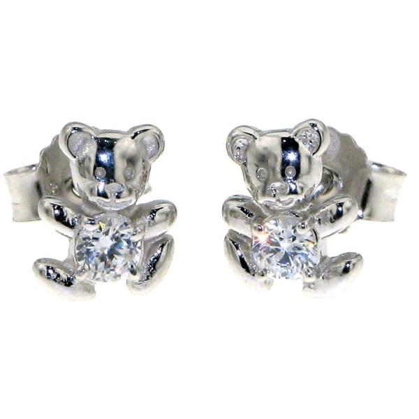 Ohrstecker Ohrring Teddy-Bär Bärle massiv echt Silber mit Zirkoniastein