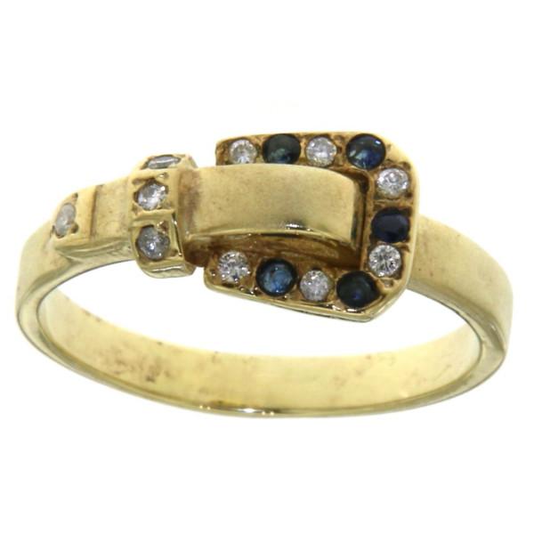 Ring Buckle Gürtelschließe mit 10 Diamanten und 5 Saphiren
