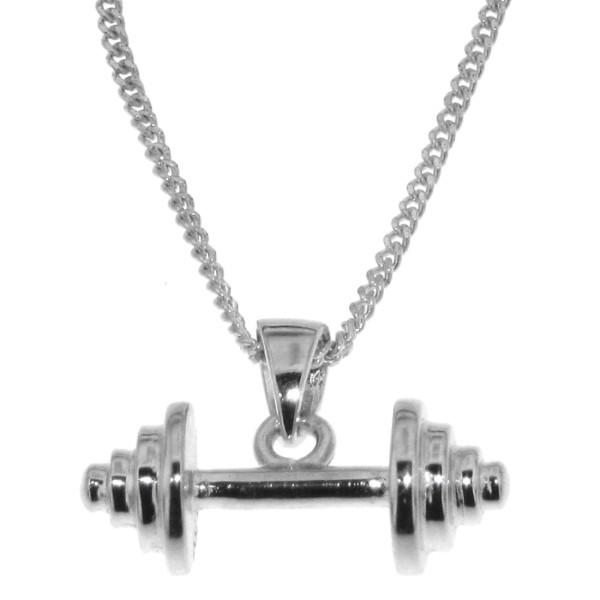 Anhänger Hantel Sportgerät Fitness Bodybuilding zierlich massiv echt Silber mit Kette - Sonderpreis