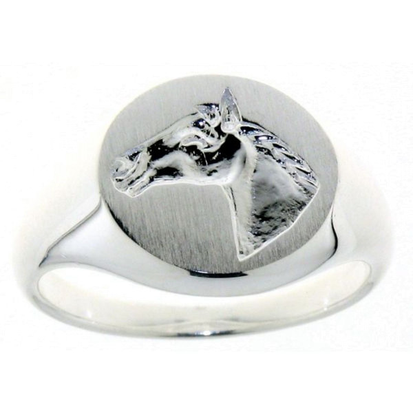 Ring Pferdekopf im Stil eines Siegelringes massiv echt Silber mattiert-poliert
