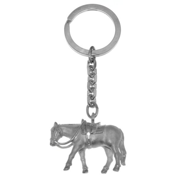 Schlüsselanhänger Pleasurepferd massiv echt Silber mattiert - poliert
