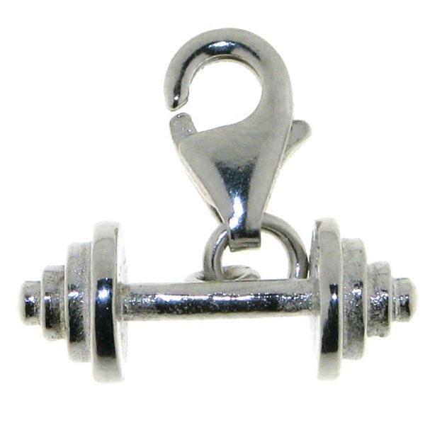 Charm Hantel zierlich Fitness Sportgerät massiv echt Silber