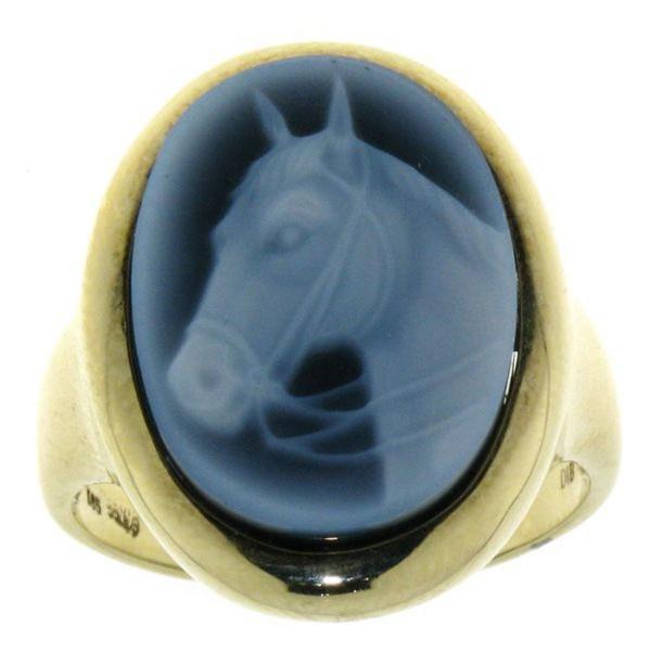 Ring Gemme Achat mit Pferdekopf mit Kandare 18 x 13 mm Kamee