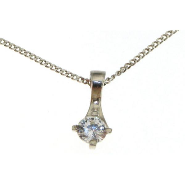 Anhänger Zirkonia modern funkelnd wie ein Diamant mit Kette echt Silber