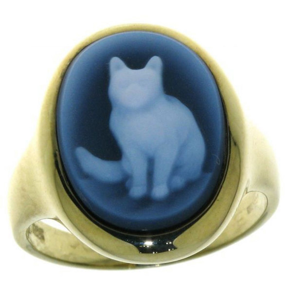 Ring Gemme Achat Katze Kater 16 x 12 mm Kamee