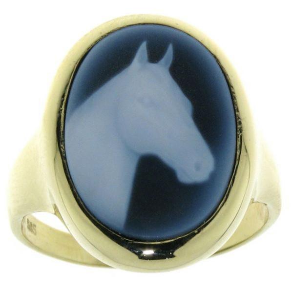 Ring Gemme Achat mit Pferdekopf 18 x 13 mm Kamee