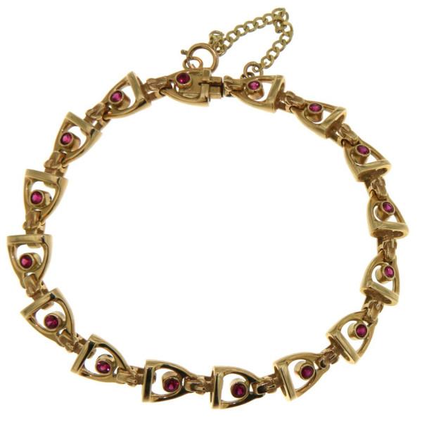Armband mit 16 Steigbügeln und Rubinen
