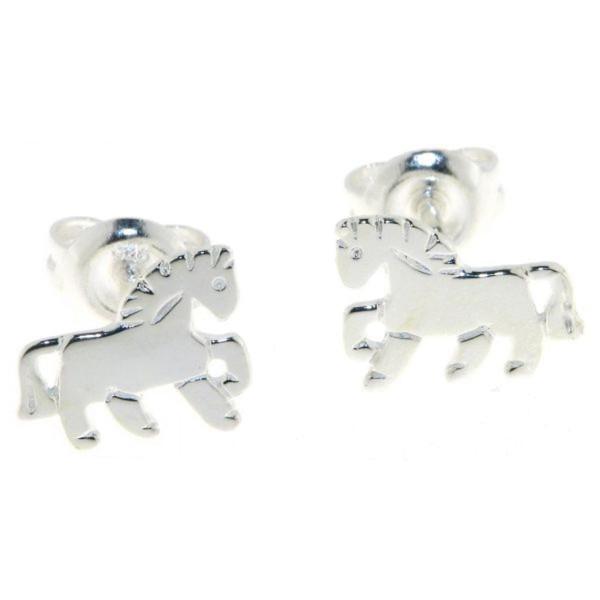 Ohrstecker Pony Pferdchen massiv echt Silber