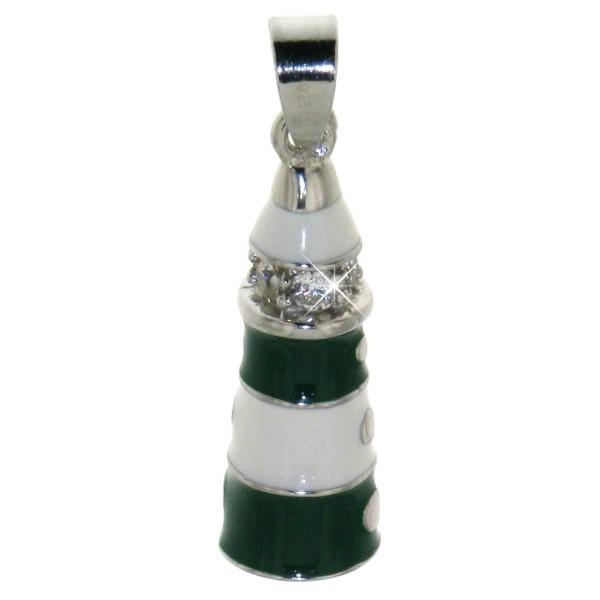 Anhänger Leuchtturm massiv echt Silber mit farbigem Lack