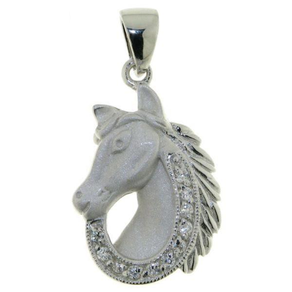 Anhänger Pferdekopf echt Silber mattiert - poliert mit 11 Zirkoniasteinen - Sonderpreis