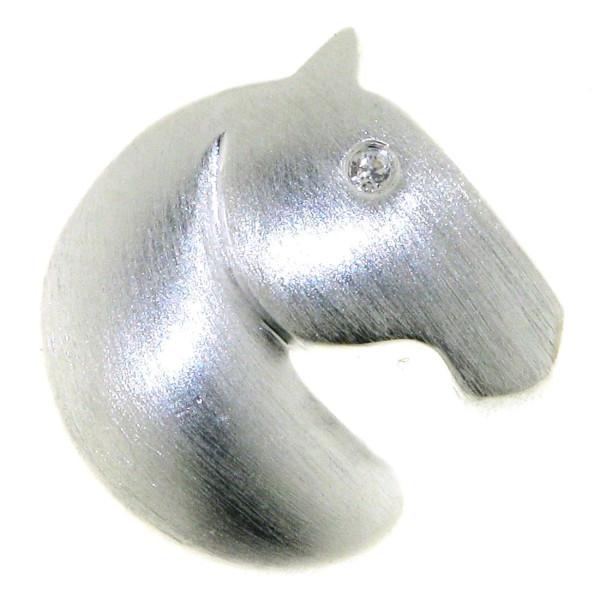 Anhänger Pferdekopf klein modern echt Silber mattiert mit Zirkonia Auge
